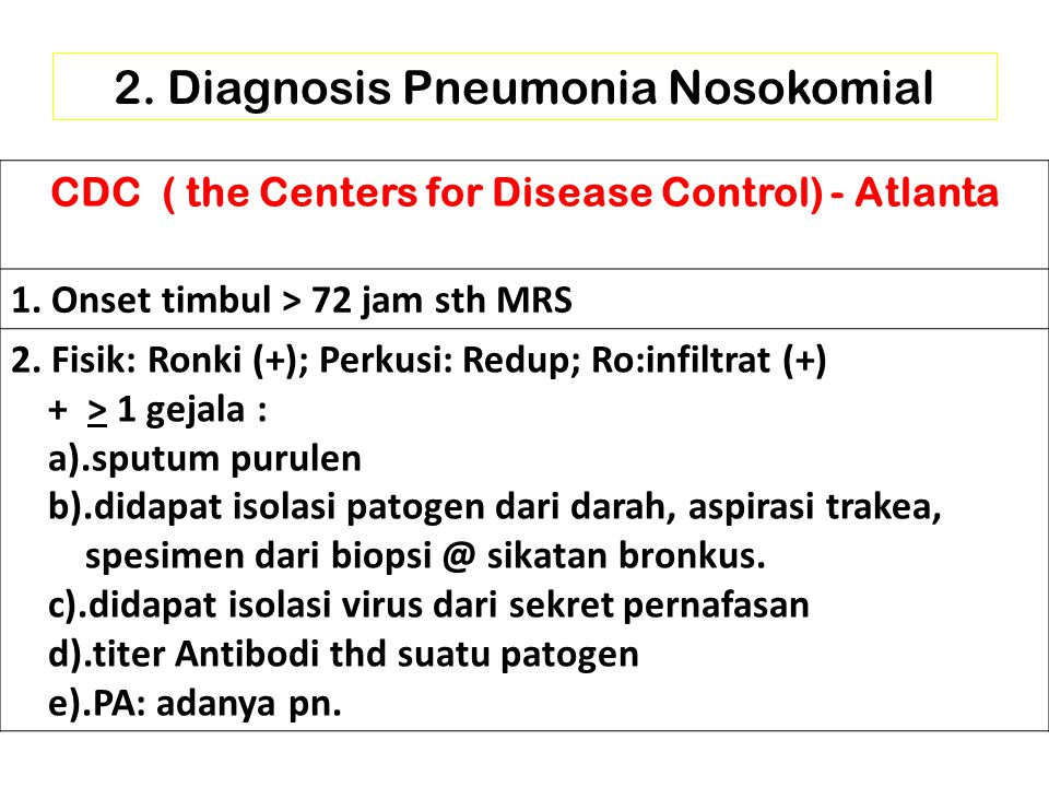 2.Diagnosis Pneumonia Nosokomial CDC ( the Centers for Disease Control) - Atlanta 1.