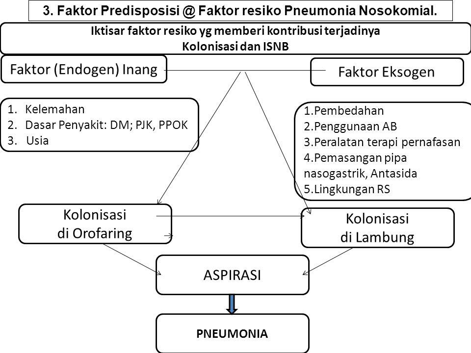 Faktor (Endogen) Inang 1.Kelemahan 2.Dasar Penyakit: DM; PJK, PPOK 3. Usia 1.Pembedahan 2.Penggunaan AB 3.Peralatan terapi pernafasan 4.Pemasangan pip