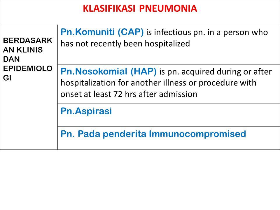 KLASIFIKASI PNEUMONIA BERDASARK AN KLINIS DAN EPIDEMIOLO GI Pn.Komuniti (CAP) is infectious pn. in a person who has not recently been hospitalized Pn.
