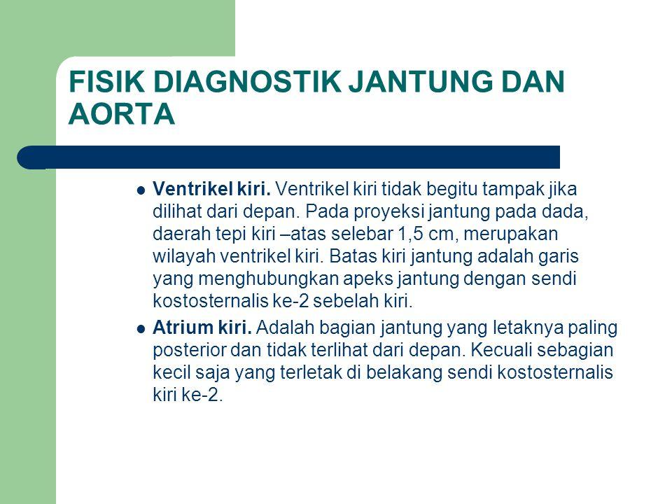 FISIK DIAGNOSTIK JANTUNG DAN AORTA Ventrikel kiri. Ventrikel kiri tidak begitu tampak jika dilihat dari depan. Pada proyeksi jantung pada dada, daerah