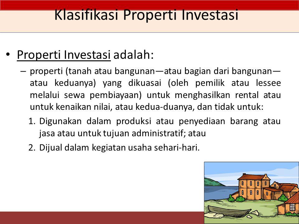 Pengukuran setelah Pengakuan Awal 20 Properti yang dikuasai dalam sewa operasi yang diklasifikasikan sebagai properti Investasi Properti investasi yang menjadi agunan kewajiban yang menghasilkan imbalan yang terkait langsung dengan nilai wajar dari, atau imbalan dari, aset tertentu termasuk properti investasi Properti investasi yang nilai wajarnya tidak dapat ditentukan secara andal atas dasar berkelanjutan Tidak ada pilihan, hanya fair value model Pilih salah satu model untuk semua properti Tidak ada pilihan, hanya cost model