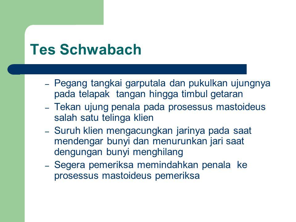 Tes Schwabach – Pegang tangkai garputala dan pukulkan ujungnya pada telapak tangan hingga timbul getaran – Tekan ujung penala pada prosessus mastoideu