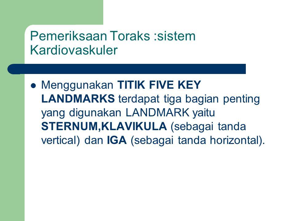 Pemeriksaan Toraks :sistem Kardiovaskuler Menggunakan TITIK FIVE KEY LANDMARKS terdapat tiga bagian penting yang digunakan LANDMARK yaitu STERNUM,KLAV