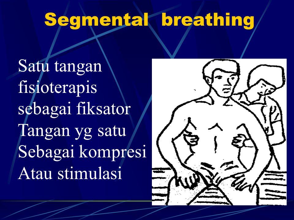 Segmental breathing Satu tangan fisioterapis sebagai fiksator Tangan yg satu Sebagai kompresi Atau stimulasi