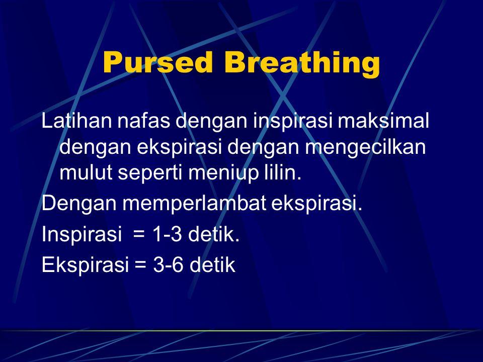 Pursed Breathing Latihan nafas dengan inspirasi maksimal dengan ekspirasi dengan mengecilkan mulut seperti meniup lilin. Dengan memperlambat ekspirasi