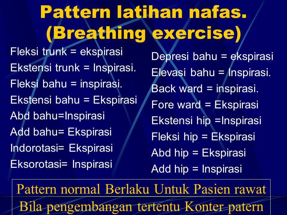 Pattern latihan nafas. (Breathing exercise) Fleksi trunk = ekspirasi Ekstensi trunk = Inspirasi. Fleksi bahu = inspirasi. Ekstensi bahu = Ekspirasi Ab