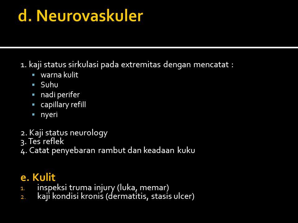 1. kaji status sirkulasi pada extremitas dengan mencatat :  warna kulit  Suhu  nadi perifer  capillary refill  nyeri 2. Kaji status neurology 3.