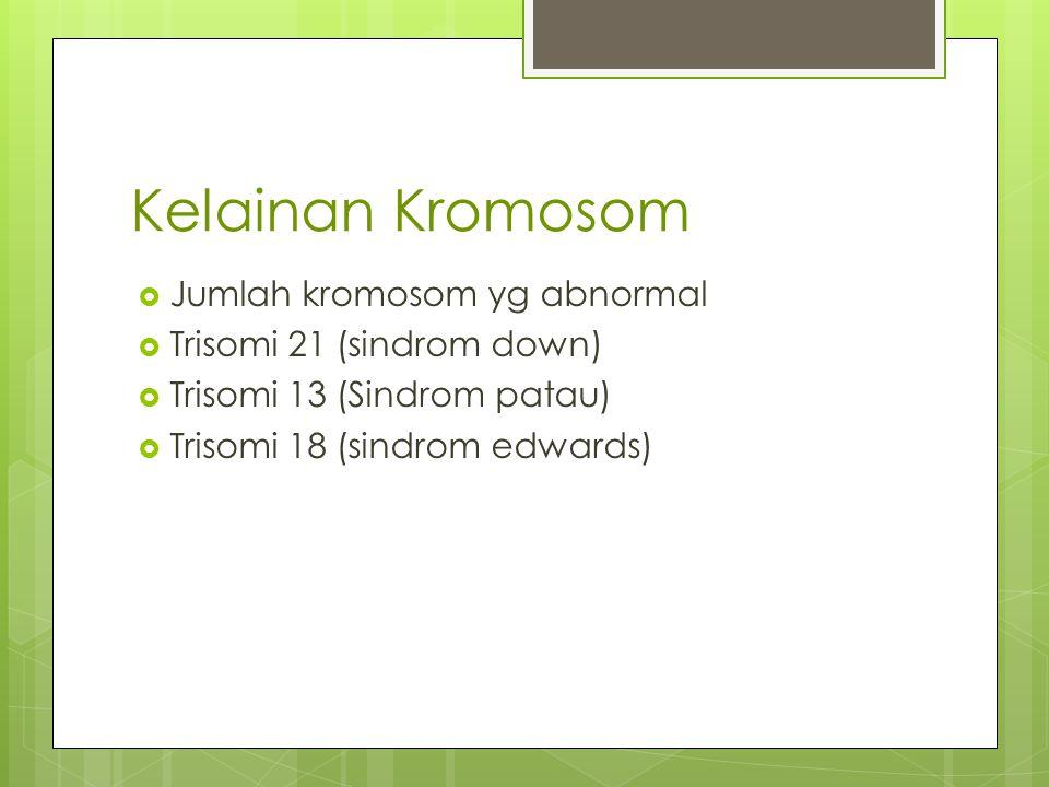 Kelainan Kromosom  Jumlah kromosom yg abnormal  Trisomi 21 (sindrom down)  Trisomi 13 (Sindrom patau)  Trisomi 18 (sindrom edwards)