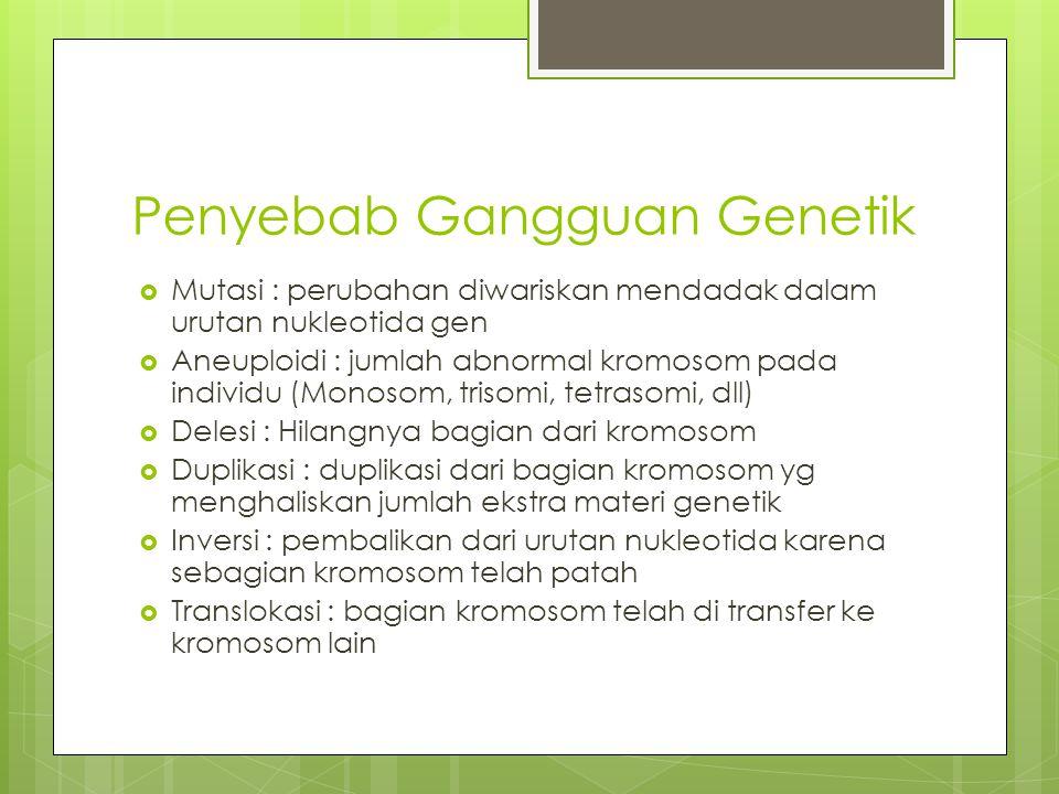 Penyebab Gangguan Genetik  Mutasi : perubahan diwariskan mendadak dalam urutan nukleotida gen  Aneuploidi : jumlah abnormal kromosom pada individu (