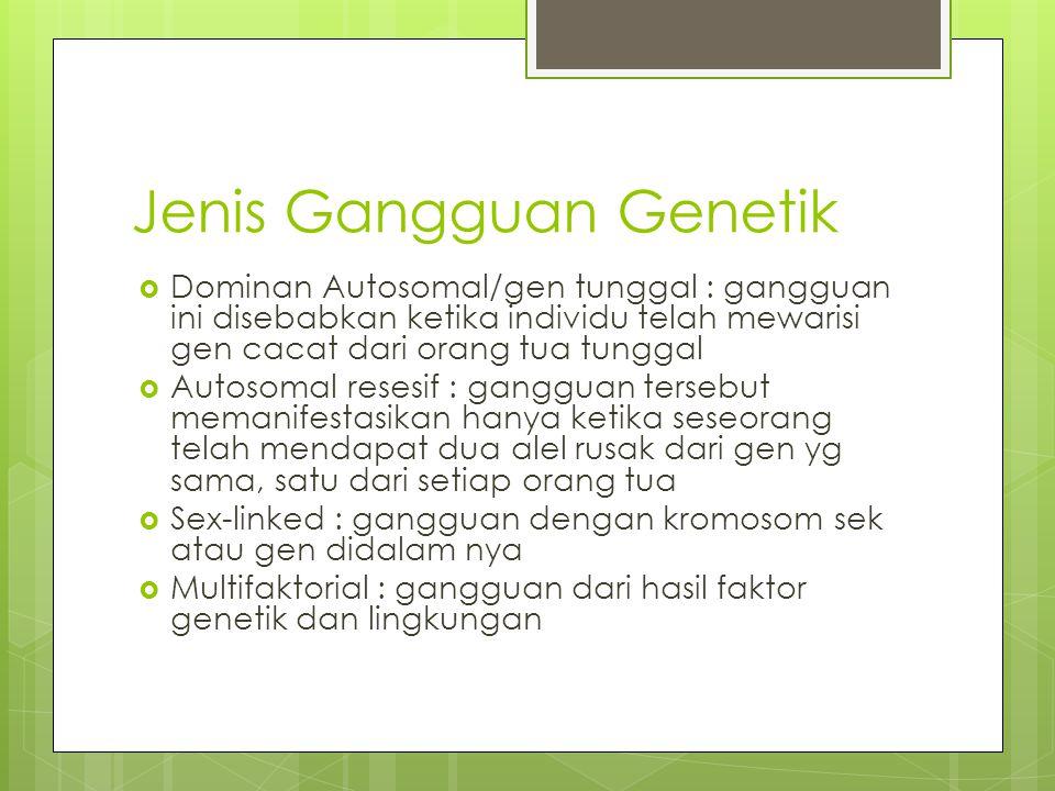 Jenis Gangguan Genetik  Dominan Autosomal/gen tunggal : gangguan ini disebabkan ketika individu telah mewarisi gen cacat dari orang tua tunggal  Aut