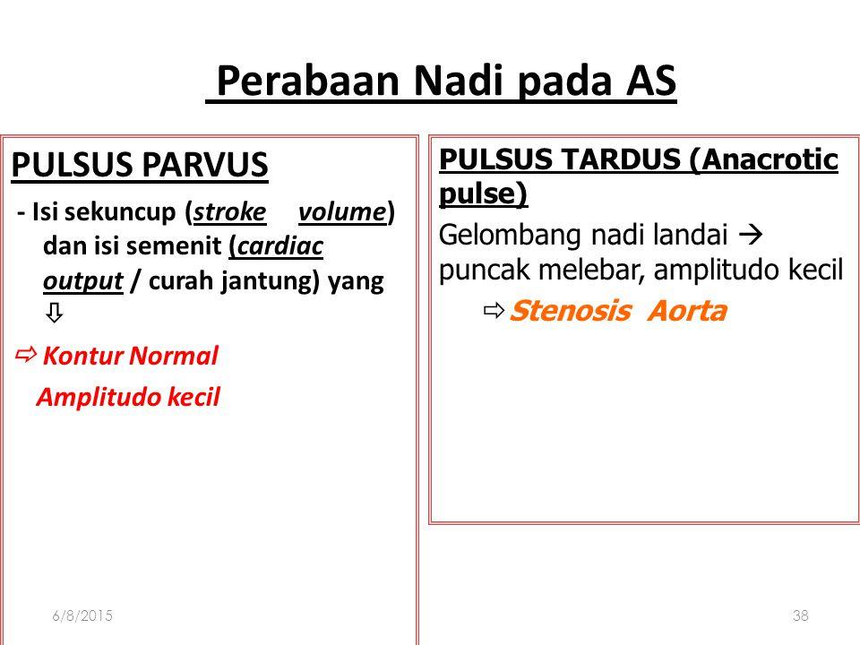 Pemeriksaan Fisik Aorta Stenosis Perabaan nadi : pulvus parvus atau pulvus tardus AUSKULTASI : Suara jantung : soft and split second heart sound, S3 g