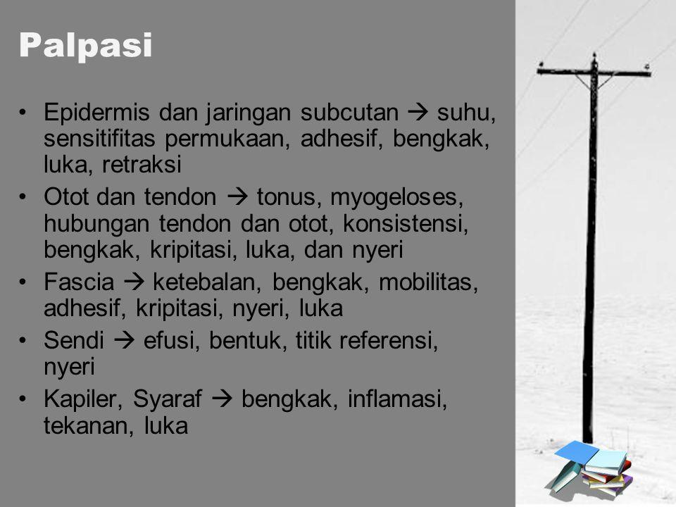 Epidermis dan jaringan subcutan  suhu, sensitifitas permukaan, adhesif, bengkak, luka, retraksi Otot dan tendon  tonus, myogeloses, hubungan tendon