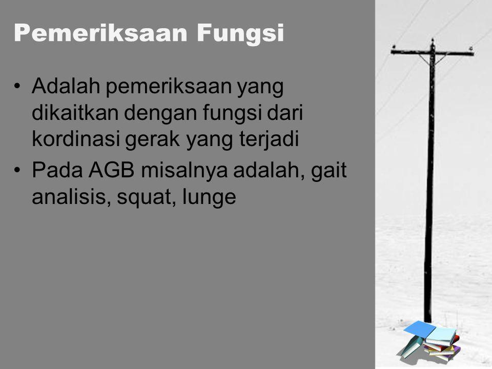 Pemeriksaan Fungsi Adalah pemeriksaan yang dikaitkan dengan fungsi dari kordinasi gerak yang terjadi Pada AGB misalnya adalah, gait analisis, squat, l