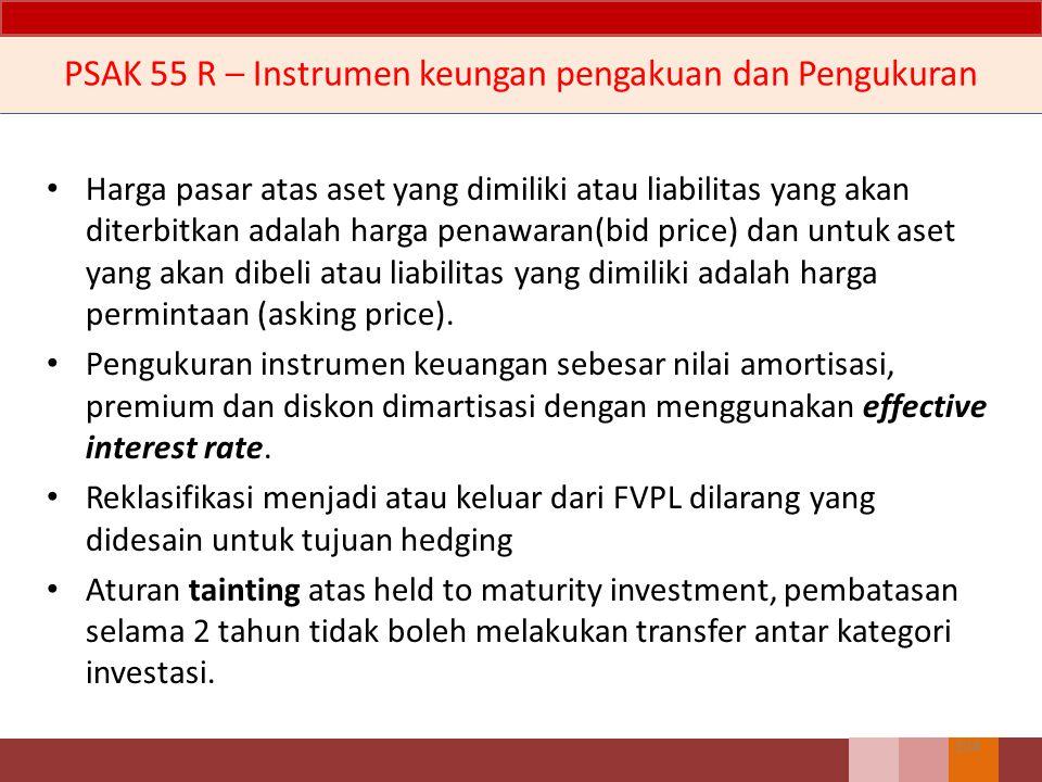 Empat kategori aset keuangan: 1.Aset keuangan yang ditetapkan untuk diukur pada nilai wajar melalui laporan laba rugi; 2.Investasi dimiliki hingga jatuh tempo; 3.Pinjaman yang diberikan atau piutang; dan 4.Aset keuangan tersedia untuk dijual.