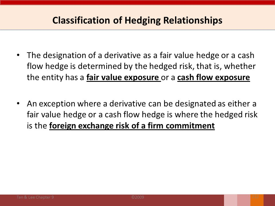 Classification of Hedging Relationships CausesExplanation Hedge of the exposure to changes in fair value of a recognized asset or liability or an unrecognized firm commitment, or an identified portion of such asset, liability or firm commitment, which is attributable to a particular risk and could affect profit or loss (IAS 39:86a) Tan & Lee Chapter 9©2009 211 Fair value hedge Hedge of the exposure to variability in cash flows that (i) is attributable to a particular risk associated with a recognized asset or liability (such as all or some future interest payment on variable debt instrument )or a highly probable future transaction, and (ii) could affect profit or loss (IAS 39:86b) Cash flow hedge Hedge of a net investment in a foreign entity Hedge of the foreign currency risk associated with a foreign operation whose financial statements are required to be translated into the presentation currency of the parent company