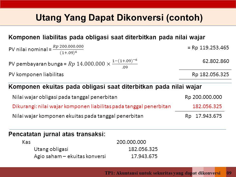 TP1: Akuntansi untuk sekuritas yang dapat dikonversi08 Ilustrasi: PT XYZ menerbitkan 1000 lembar obligasi yang dapat dikonversi dengan nilai nominal R