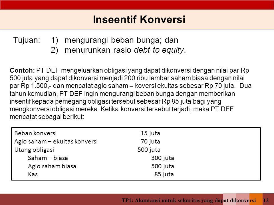 TP1: Akuntansi untuk sekuritas yang dapat dikonversi11 Kondisi 3: Obligasi dikonversi sebelum maturity Utang yang Dapat Dikonversi (contoh) Daftar Amortisasi Obligasi TanggalKas dibayarkanBeban bungaAmortisasi diskontoNilai tercatat 01/01/2013 182,056,325 31/12/2013 14,000,000 16,385,069 2,385,069 184,441,394 31/12/2014 14,000,000 16,599,725 2,599,725 187,041,120 31/12/2015 14,000,000 16,833,701 2,833,701 189,874,821 Obligasi dikonversi menjadi saham pada tanggal 31 Desember 2015 Agio saham – ekuitas konversi 17.943.675 Utang obligasi189.874.821 Saham biasa 50.000.000 Agio saham – biasa157.818.496