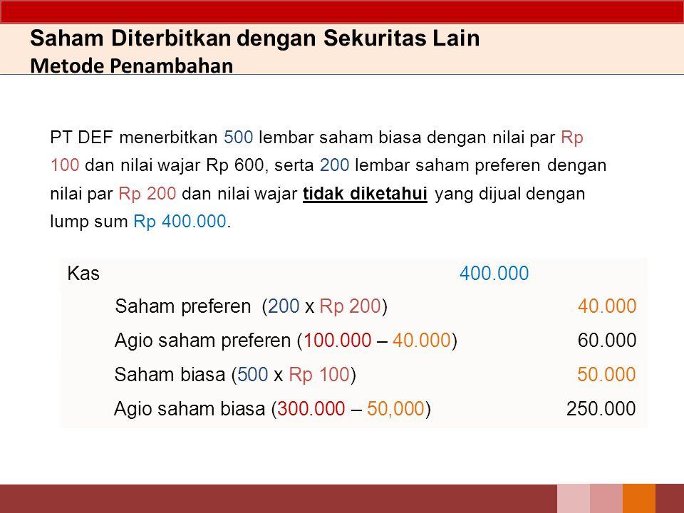 13 PT DEF menerbitkan 500 lembar saham biasa dengan nilai par Rp 100 dan nilai wajar Rp 600, serta 200 lembar saham preferen dengan nilai par Rp 200 dan nilai wajar Rp 1.000 yang dijual dengan lump sum Rp 400.000.