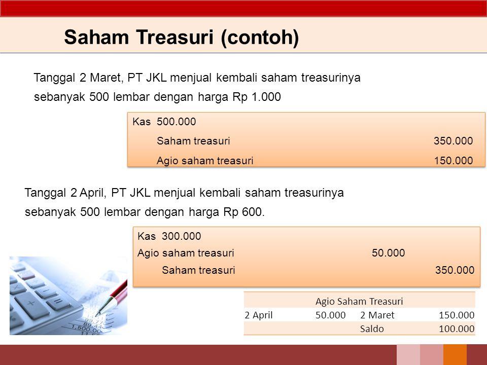 Saham Treasuri (contoh) Kemudian pada tanggal 2 Februari, PT JKL melakukan reakuisisi saham sebanyak 5.000 lembar saham dengan harga Rp 700. Saham tre