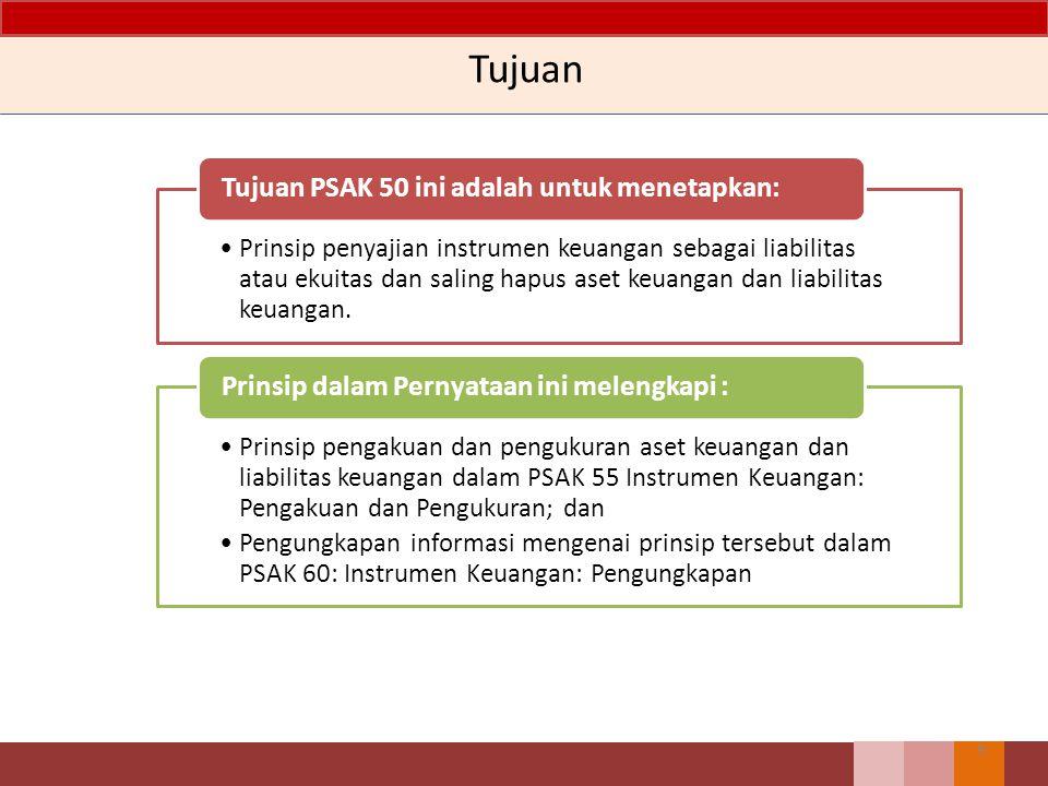 Isi PSAK 50 – Revisi 2014 Tujuan, Ruang Lingkup dan Definisi Penyajian – Liabilitas dan Ekuitas – Instrumen Keuangan Majemuk – Saham yang Diperoleh Kembali – Saham, Deviden, Kerugian dan Keuangan – Saling Hapus antar Aset Keuangan dan Liabilitas Keuangan (revisi 2013) Pedoman Penerapan yang merupakan bagian yang tidak terpisahkan dari PSAK 50 Contoh Ilustrasi, melengkapi tetapi bukan merupakan bagian dari PSAK 50 8