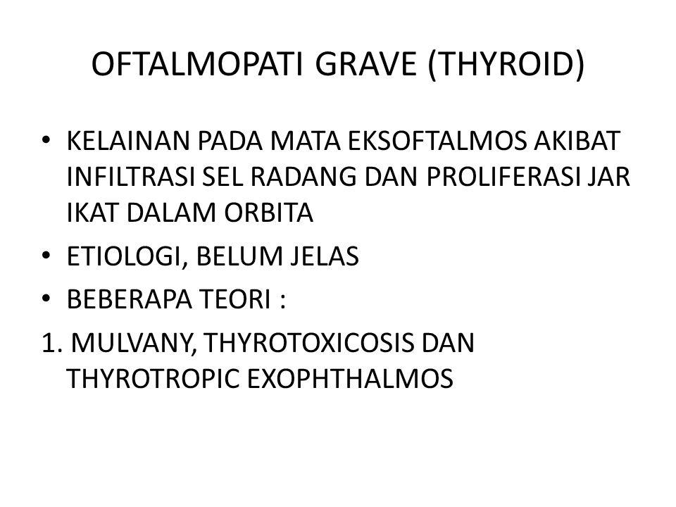OFTALMOPATI GRAVE (THYROID) KELAINAN PADA MATA EKSOFTALMOS AKIBAT INFILTRASI SEL RADANG DAN PROLIFERASI JAR IKAT DALAM ORBITA ETIOLOGI, BELUM JELAS BEBERAPA TEORI : 1.
