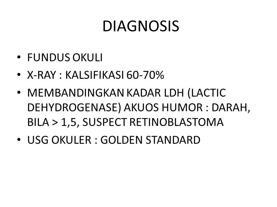 DIAGNOSIS FUNDUS OKULI X-RAY : KALSIFIKASI 60-70% MEMBANDINGKAN KADAR LDH (LACTIC DEHYDROGENASE) AKUOS HUMOR : DARAH, BILA > 1,5, SUSPECT RETINOBLASTOMA USG OKULER : GOLDEN STANDARD