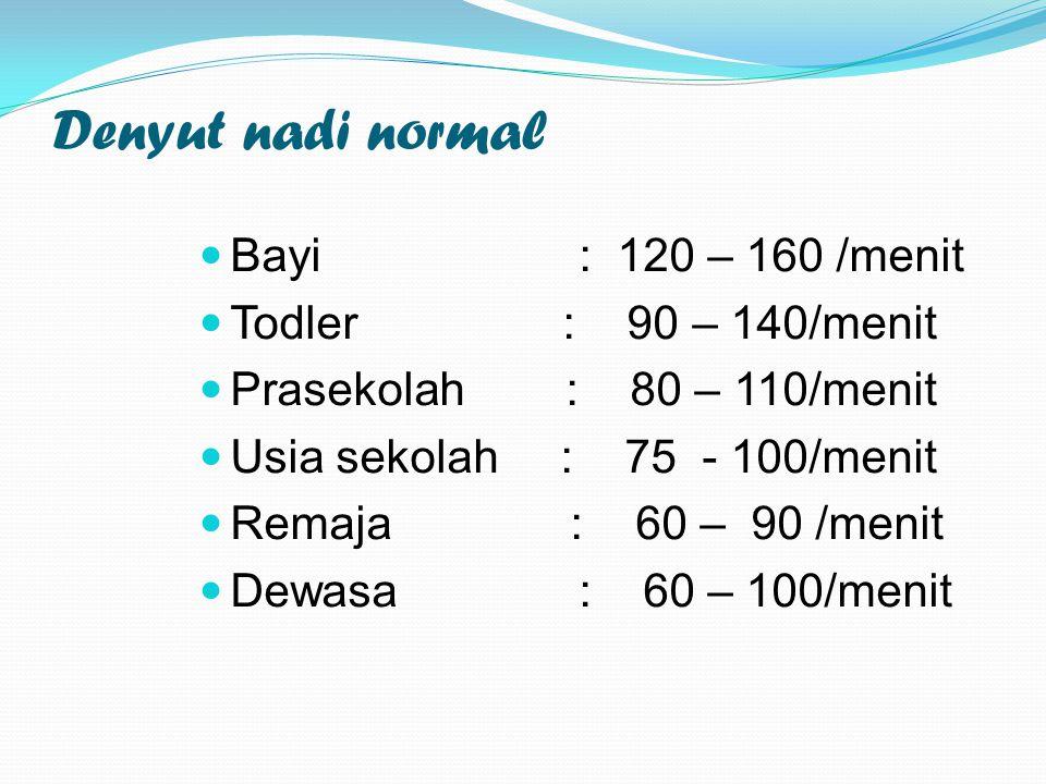 Denyut nadi normal Bayi : 120 – 160 /menit Todler : 90 – 140/menit Prasekolah : 80 – 110/menit Usia sekolah : 75 - 100/menit Remaja : 60 – 90 /menit Dewasa : 60 – 100/menit