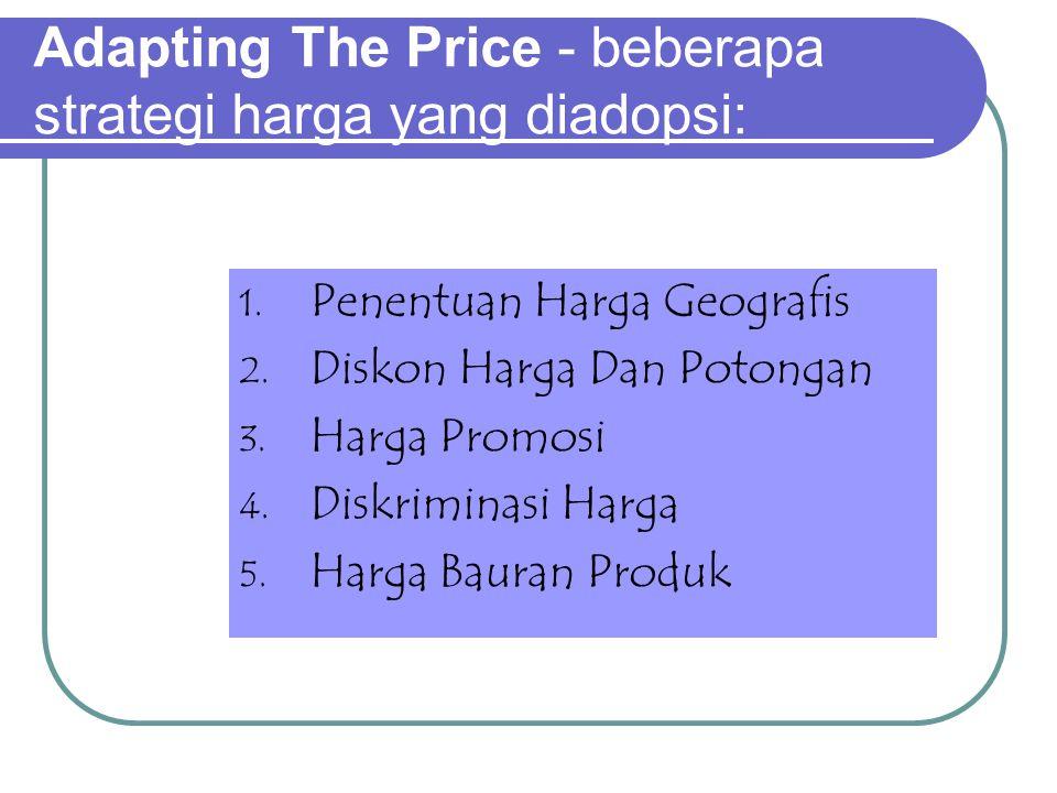 Adapting The Price - beberapa strategi harga yang diadopsi: 1.