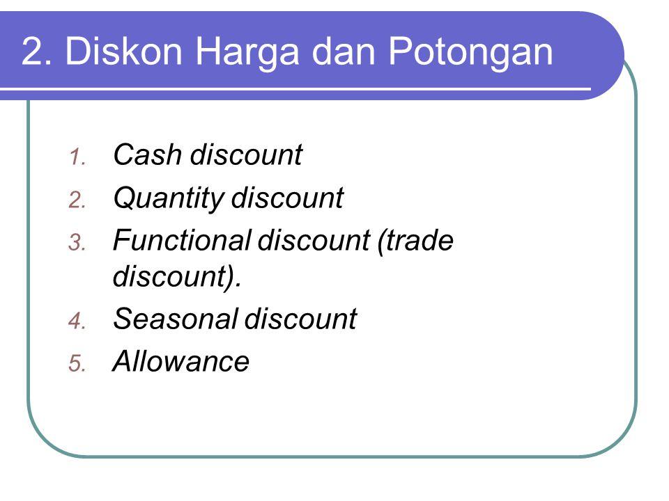 2.Diskon Harga dan Potongan 1. Cash discount 2. Quantity discount 3.