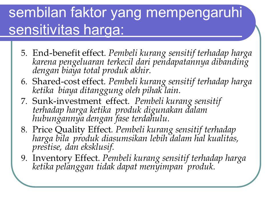 sembilan faktor yang mempengaruhi sensitivitas harga: 5.