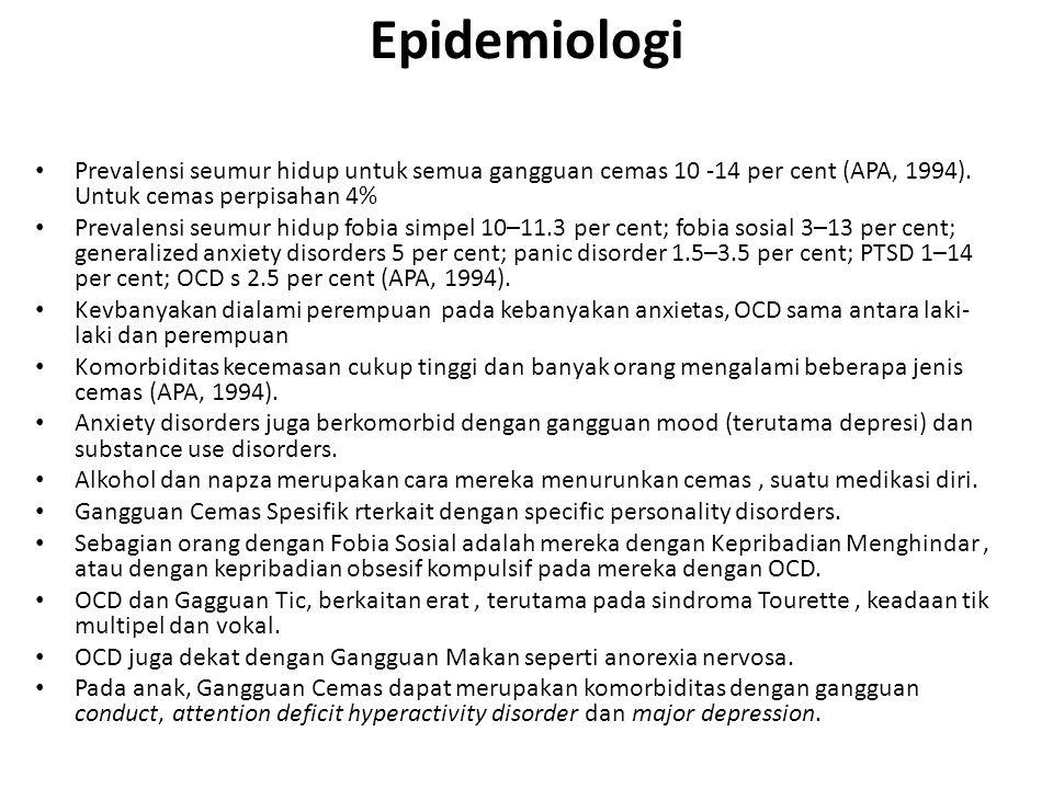 Epidemiologi Prevalensi seumur hidup untuk semua gangguan cemas 10 -14 per cent (APA, 1994). Untuk cemas perpisahan 4% Prevalensi seumur hidup fobia s