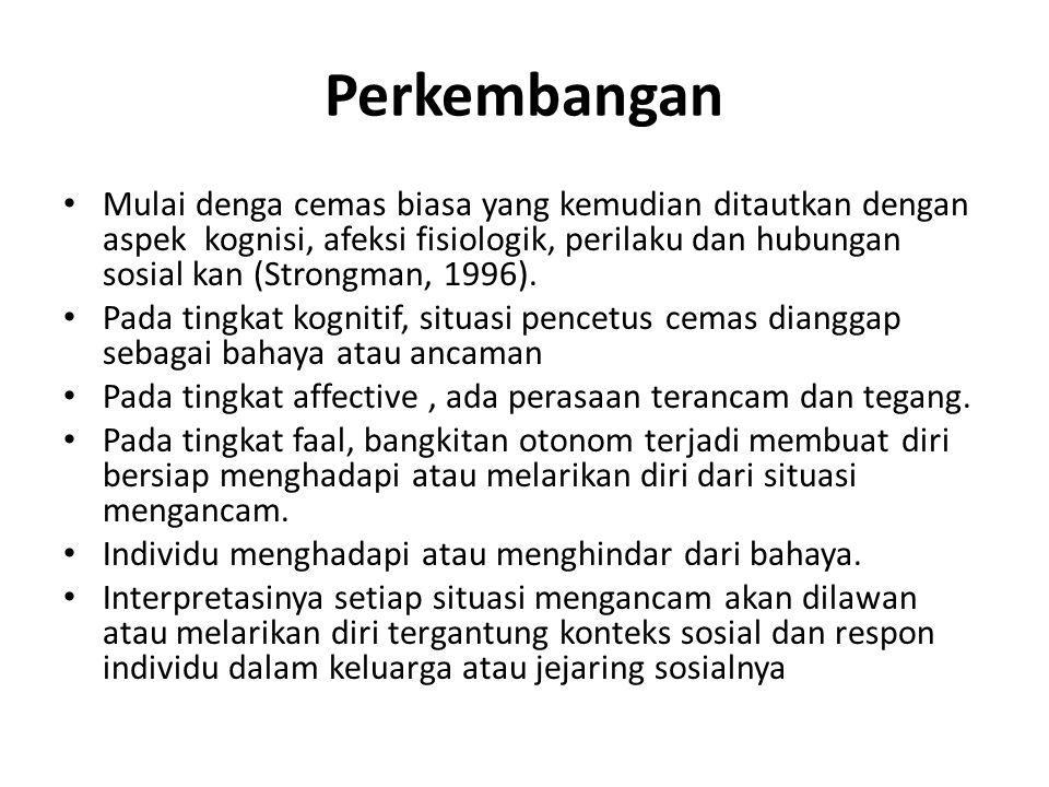 Perkembangan Mulai denga cemas biasa yang kemudian ditautkan dengan aspek kognisi, afeksi fisiologik, perilaku dan hubungan sosial kan (Strongman, 199