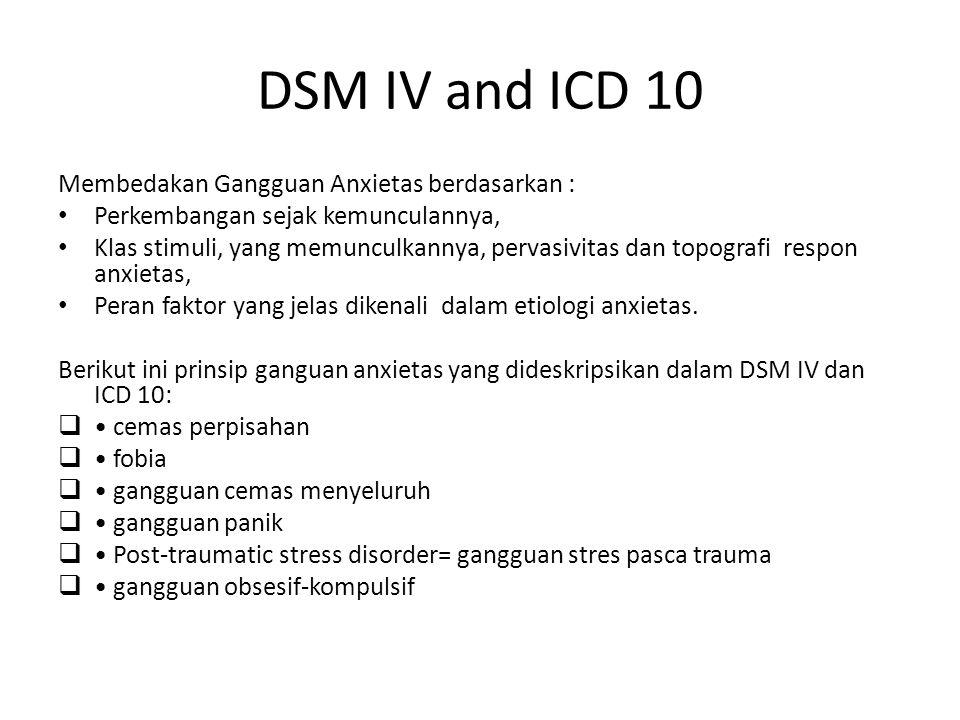 DSM IV and ICD 10 Membedakan Gangguan Anxietas berdasarkan : Perkembangan sejak kemunculannya, Klas stimuli, yang memunculkannya, pervasivitas dan top