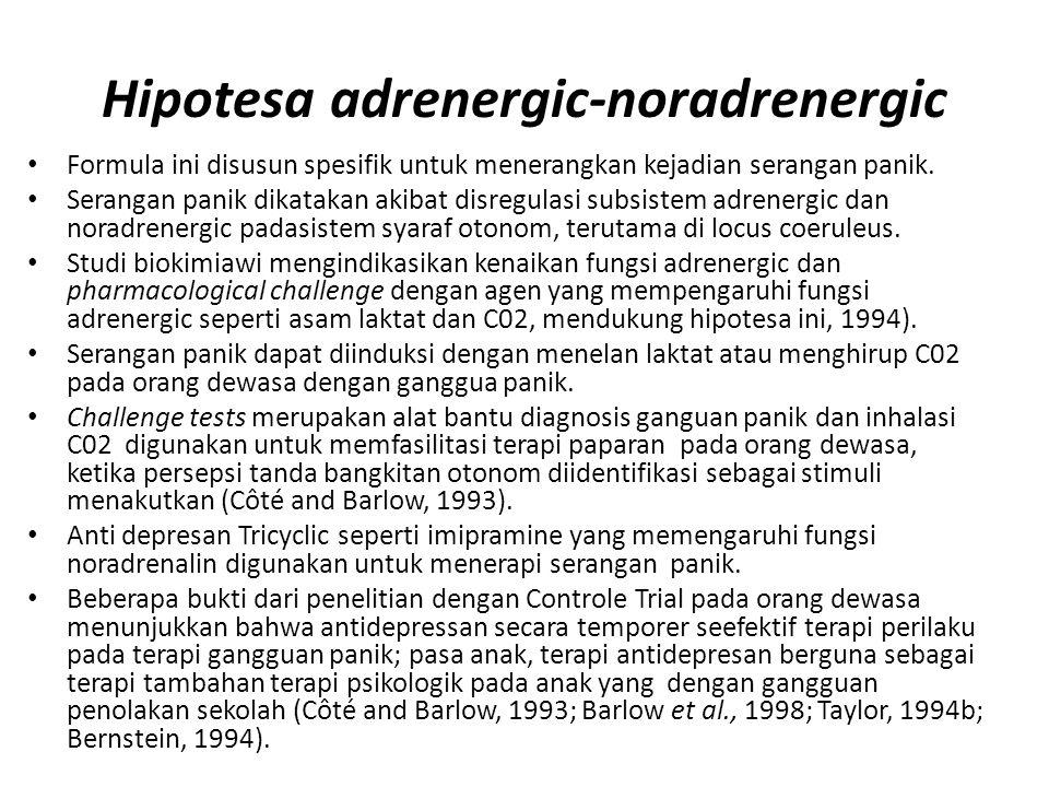 Hipotesa adrenergic-noradrenergic Formula ini disusun spesifik untuk menerangkan kejadian serangan panik. Serangan panik dikatakan akibat disregulasi