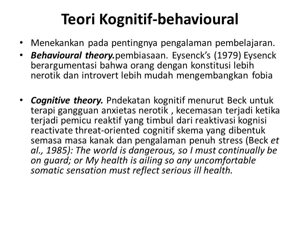 Teori Kognitif-behavioural Menekankan pada pentingnya pengalaman pembelajaran. Behavioural theory.pembiasaan. Eysenck's (1979) Eysenck berargumentasi