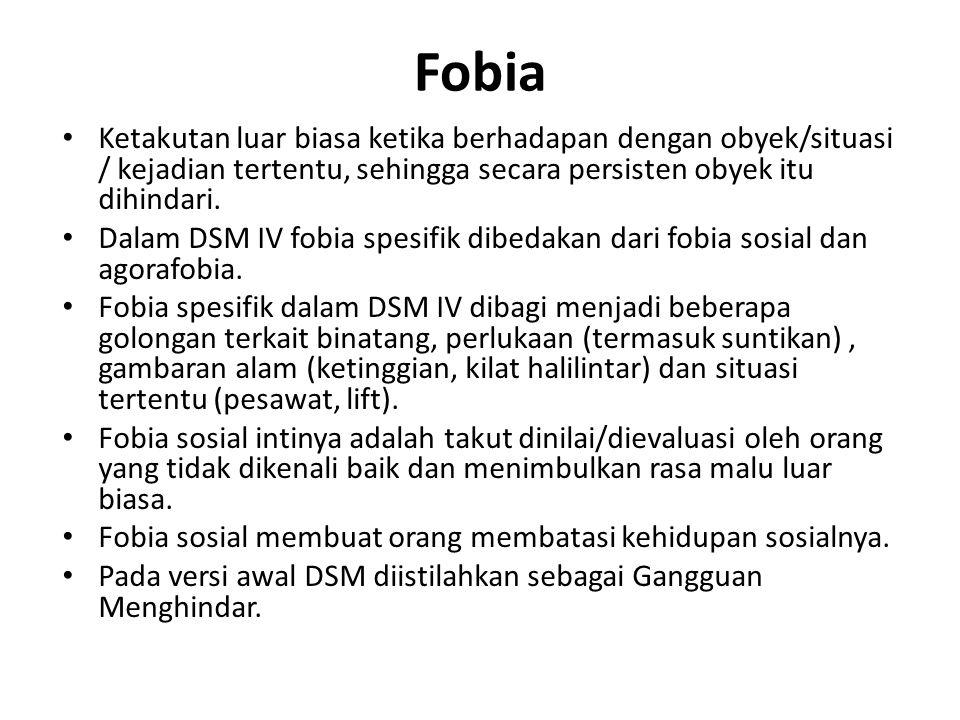 Fobia Ketakutan luar biasa ketika berhadapan dengan obyek/situasi / kejadian tertentu, sehingga secara persisten obyek itu dihindari. Dalam DSM IV fob
