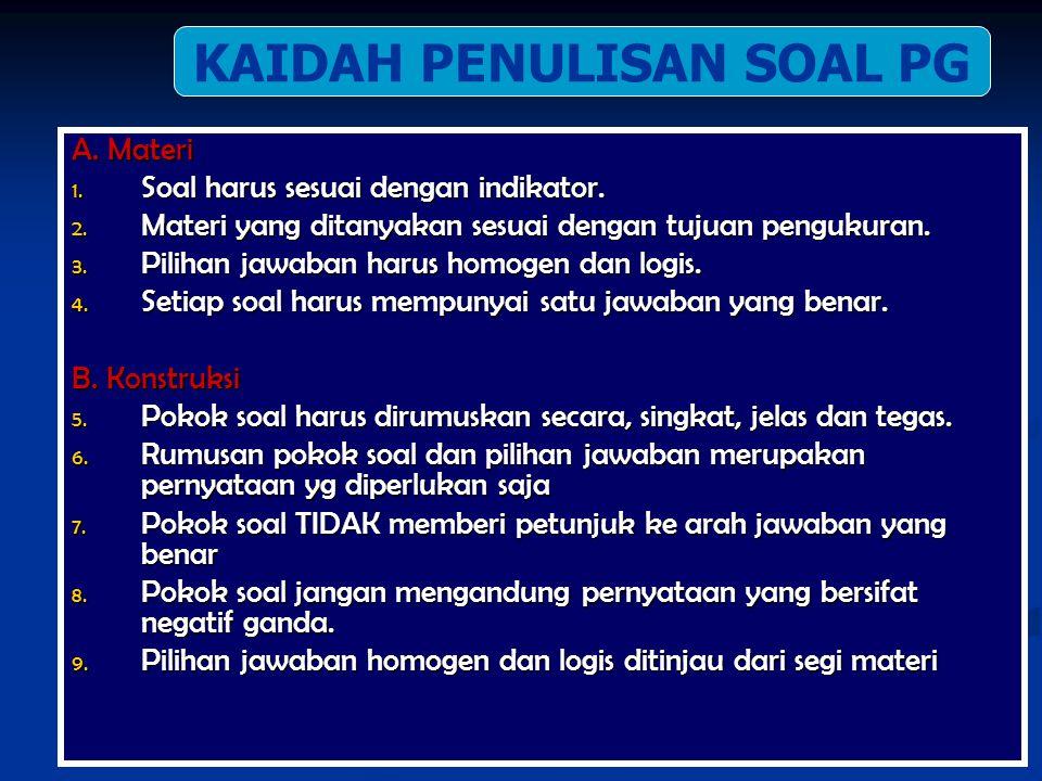 KAIDAH PENULISAN SOAL MATERI BAHASA/ BUDAYA KONSTRUKSI