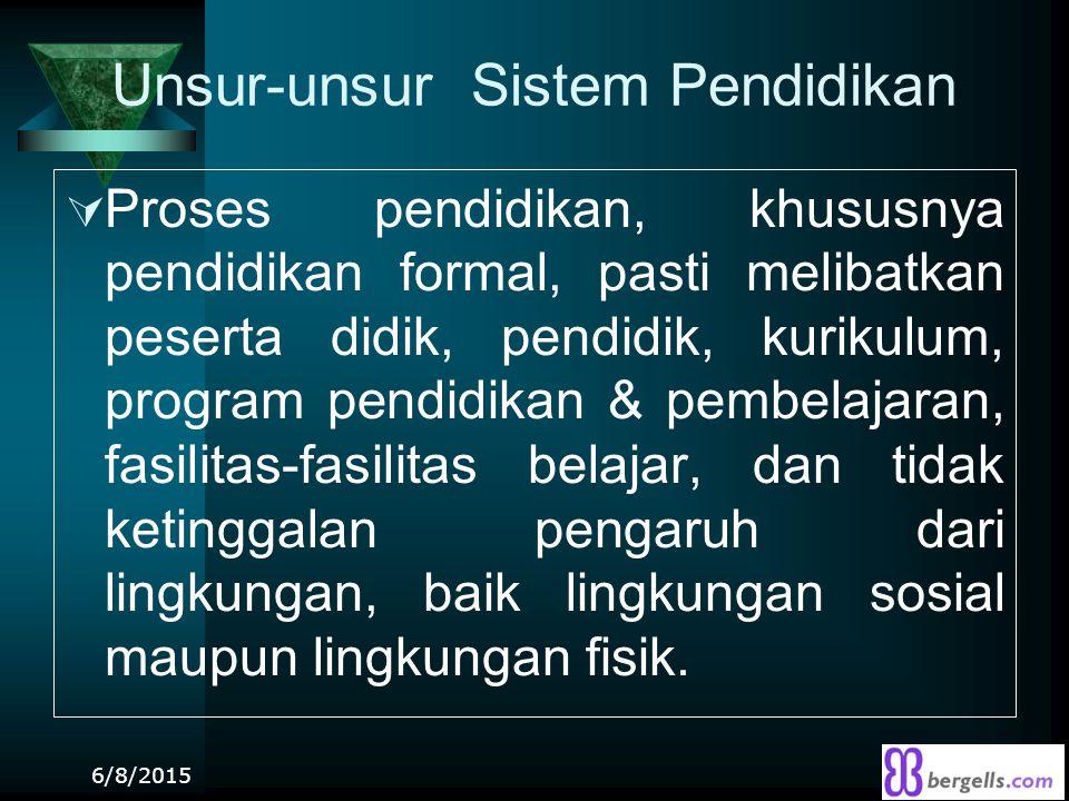 Unsur-unsur Sistem Pendidikan  Proses pendidikan, khususnya pendidikan formal, pasti melibatkan peserta didik, pendidik, kurikulum, program pendidika