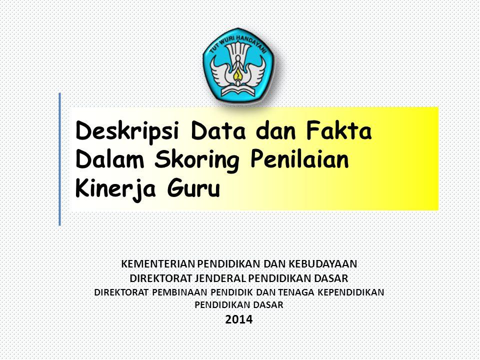 KEMENTERIAN PENDIDIKAN DAN KEBUDAYAAN DIREKTORAT JENDERAL PENDIDIKAN DASAR DIREKTORAT PEMBINAAN PENDIDIK DAN TENAGA KEPENDIDIKAN PENDIDIKAN DASAR 2014 Deskripsi Data dan Fakta Dalam Skoring Penilaian Kinerja Guru