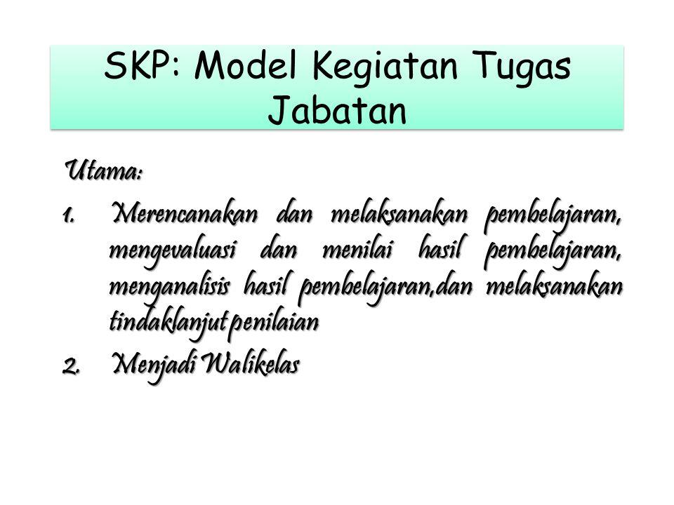 SKP: Model Kegiatan Tugas Jabatan Utama: 1.Merencanakan dan melaksanakan pembelajaran, mengevaluasi dan menilai hasil pembelajaran, menganalisis hasil pembelajaran,dan melaksanakan tindaklanjut penilaian 2.Menjadi Walikelas