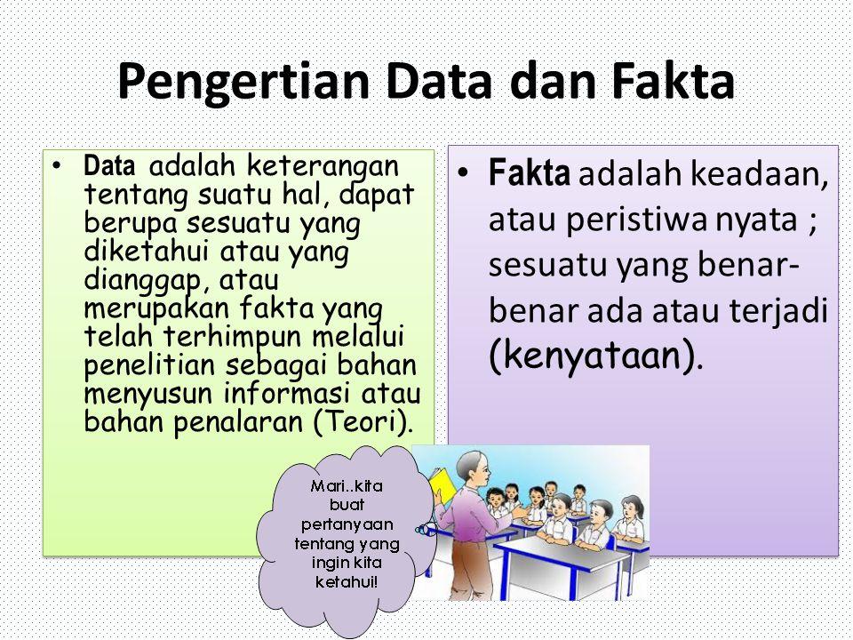Pengertian Data dan Fakta Data adalah keterangan tentang suatu hal, dapat berupa sesuatu yang diketahui atau yang dianggap, atau merupakan fakta yang telah terhimpun melalui penelitian sebagai bahan menyusun informasi atau bahan penalaran (Teori).