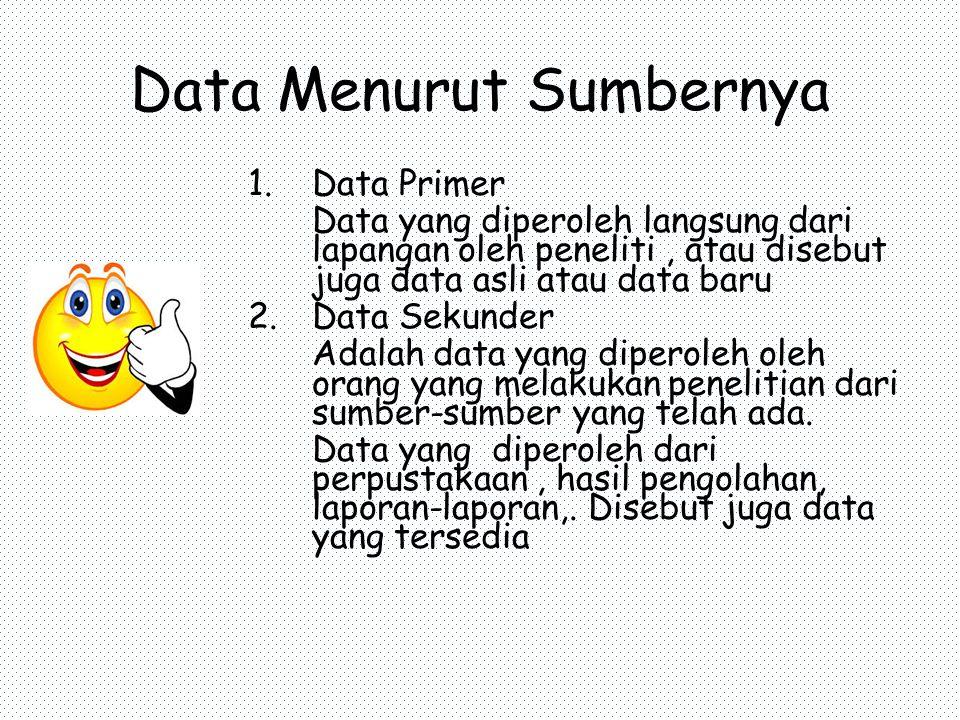 Data Menurut Sumbernya 1.Data Primer Data yang diperoleh langsung dari lapangan oleh peneliti, atau disebut juga data asli atau data baru 2.