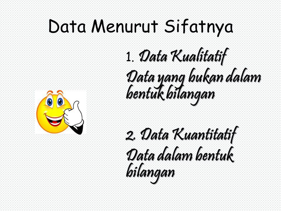 Data Menurut Sifatnya Data Kualitatif 1. Data Kualitatif Data yang bukan dalam bentuk bilangan 2.