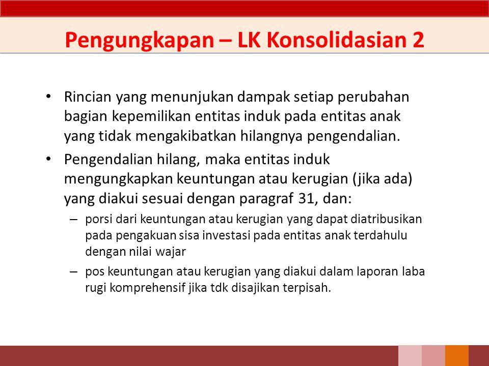 Pengungkapan – LK Konsolidasian 2 Rincian yang menunjukan dampak setiap perubahan bagian kepemilikan entitas induk pada entitas anak yang tidak mengak