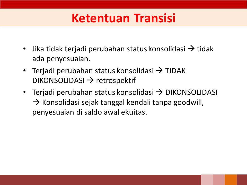 Ketentuan Transisi Jika tidak terjadi perubahan status konsolidasi  tidak ada penyesuaian. Terjadi perubahan status konsolidasi  TIDAK DIKONSOLIDASI