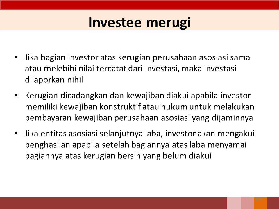 Investee merugi Jika bagian investor atas kerugian perusahaan asosiasi sama atau melebihi nilai tercatat dari investasi, maka investasi dilaporkan nih