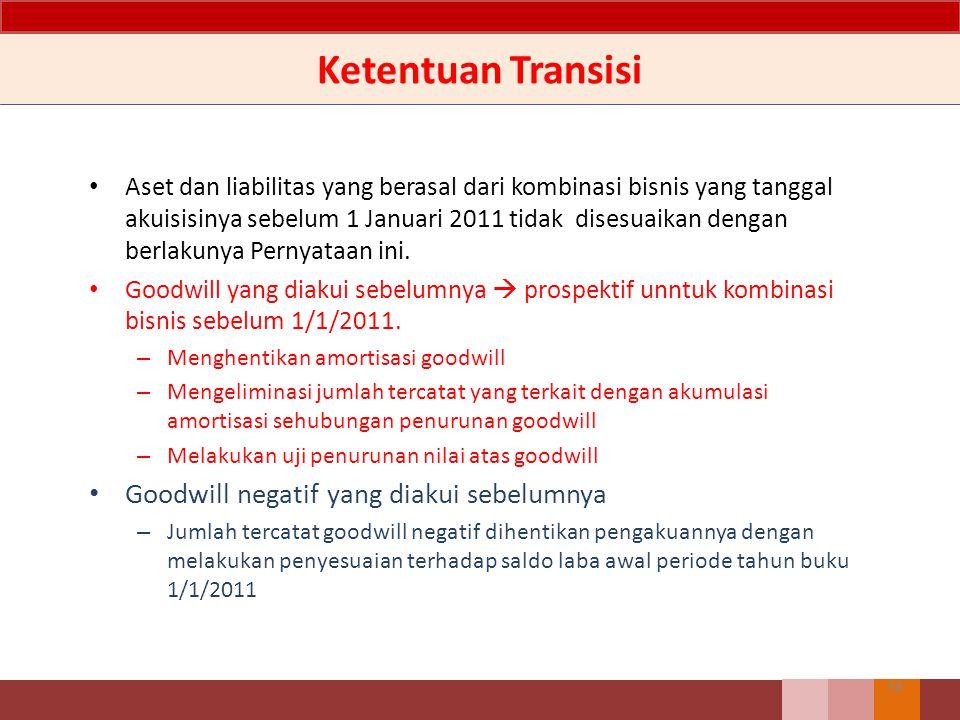 Ketentuan Transisi Aset dan liabilitas yang berasal dari kombinasi bisnis yang tanggal akuisisinya sebelum 1 Januari 2011 tidak disesuaikan dengan ber