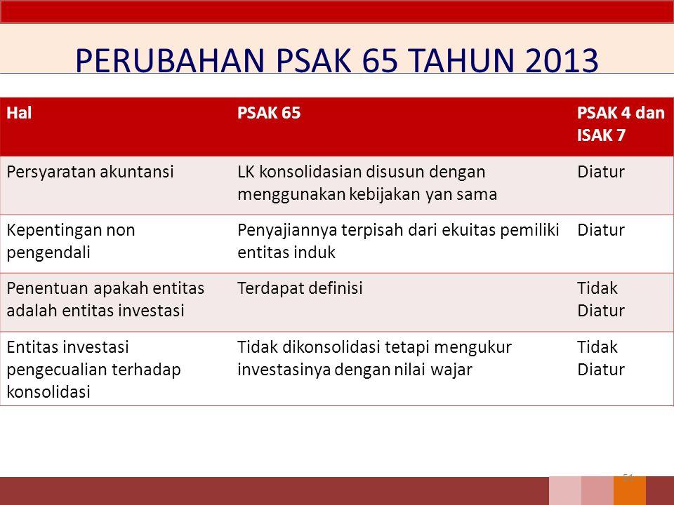 PERUBAHAN PSAK 65 TAHUN 2013 51 HalPSAK 65PSAK 4 dan ISAK 7 Persyaratan akuntansiLK konsolidasian disusun dengan menggunakan kebijakan yan sama Diatur