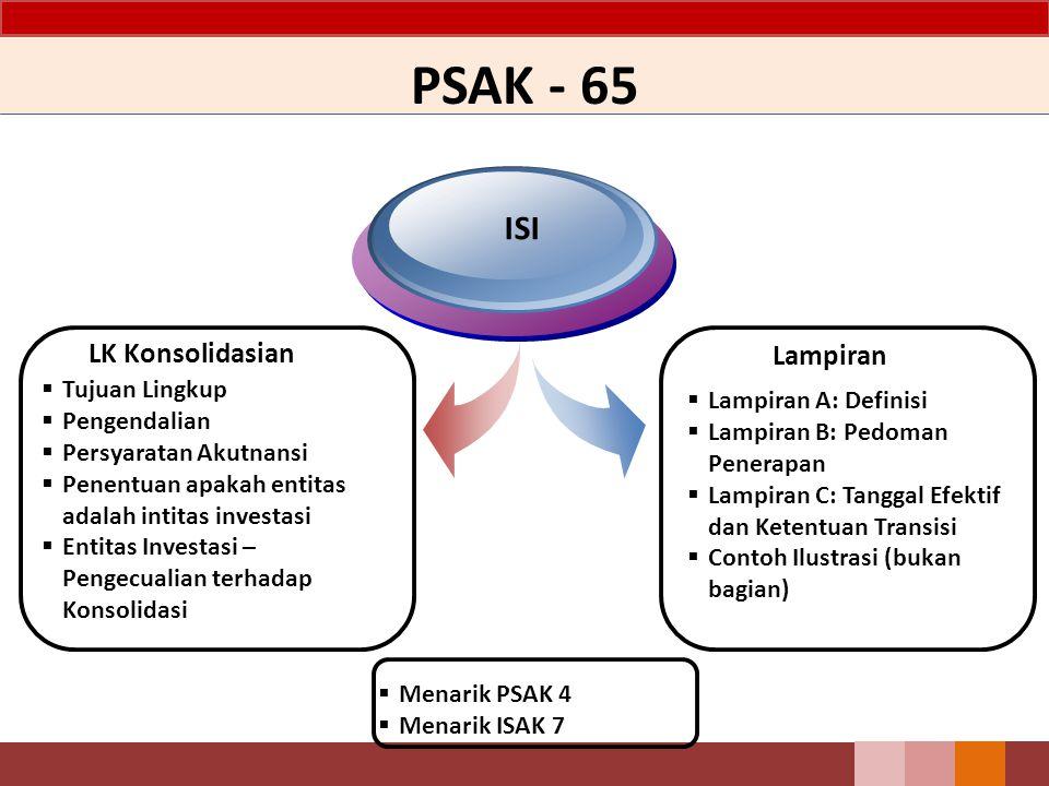 PSAK - 65 LK Konsolidasian ISI Lampiran  Tujuan Lingkup  Pengendalian  Persyaratan Akutnansi  Penentuan apakah entitas adalah intitas investasi 