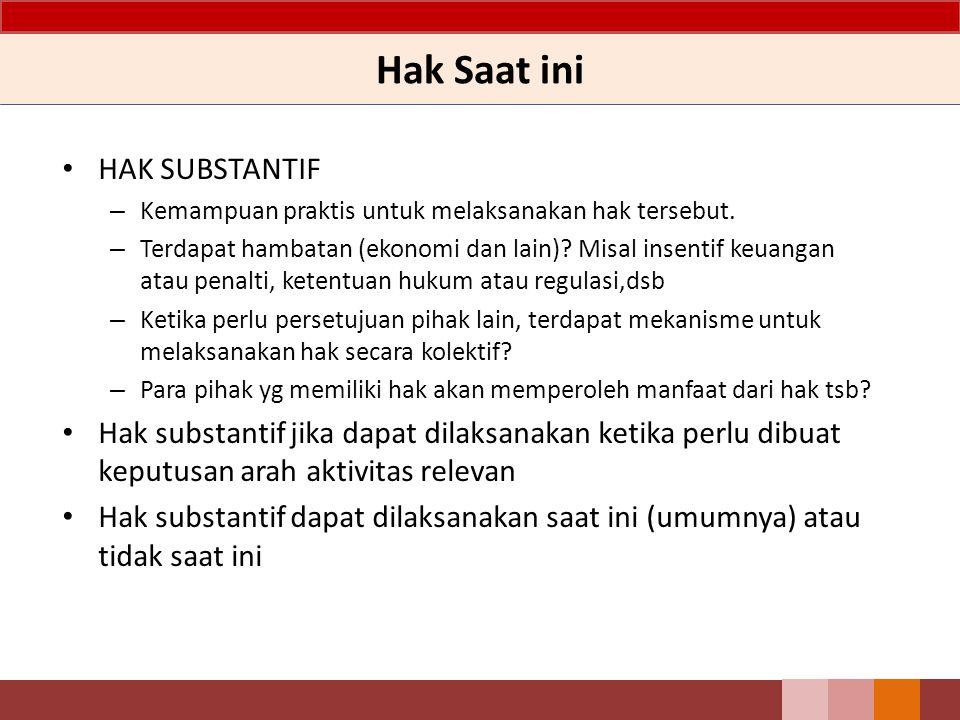 Hak Saat ini HAK SUBSTANTIF – Kemampuan praktis untuk melaksanakan hak tersebut. – Terdapat hambatan (ekonomi dan lain)? Misal insentif keuangan atau